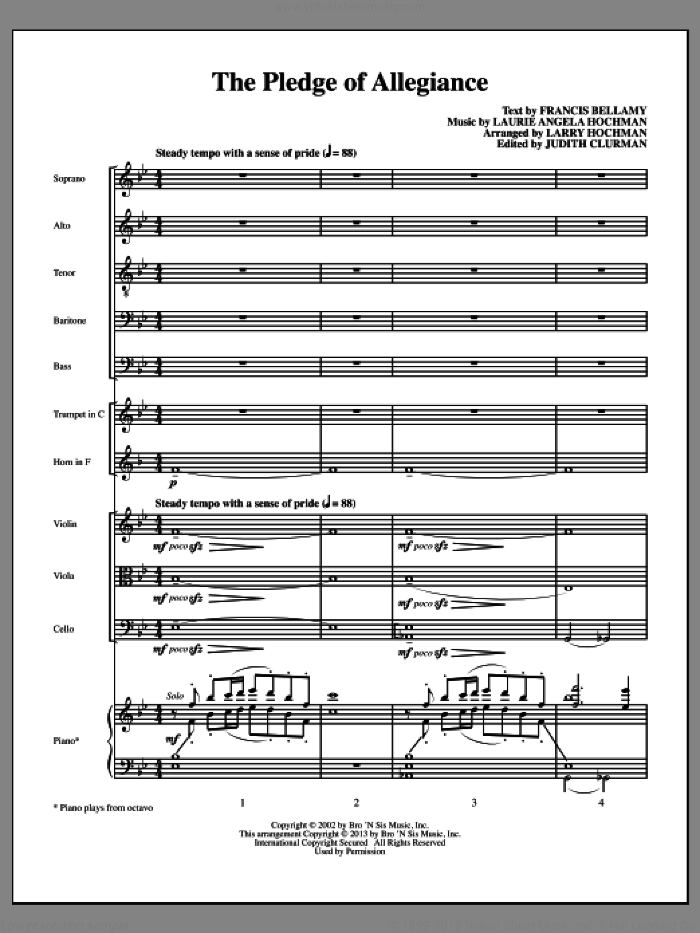 The Pledge of Allegiance (COMPLETE) sheet music for orchestra/band (Instrumental Accompaniment) by Laurie Angela Hochman and Francis Bellamy, intermediate skill level