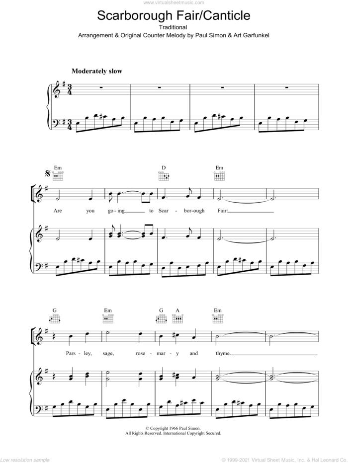 Scarborough Fair/Canticle sheet music for voice, piano or guitar by Simon & Garfunkel, Art Garfunkel, Miscellaneous and Paul Simon, intermediate skill level