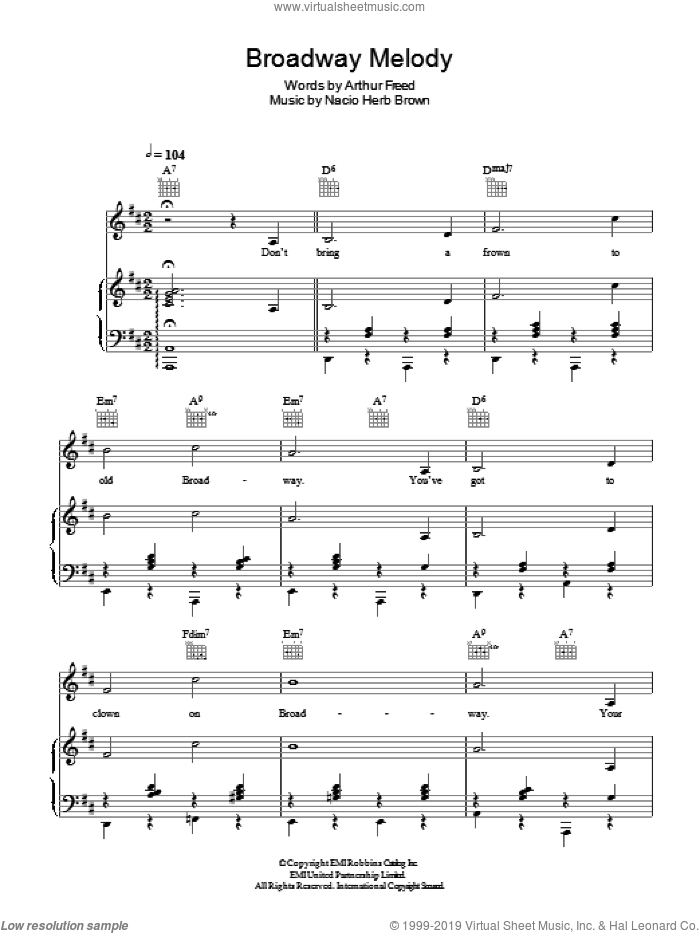 Broadway Melody sheet music for voice, piano or guitar by Nacio Herb Brown and Arthur Freed, intermediate skill level