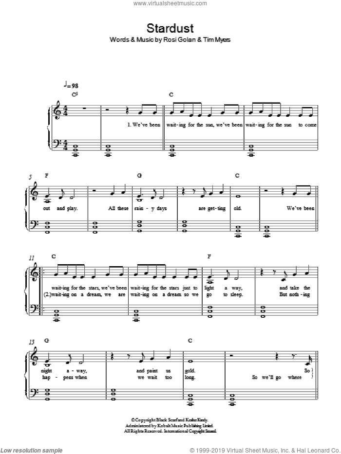 Stardust sheet music for piano solo by Lena Meyer-Landrut, Rosi Golan and Tim Myers, easy skill level