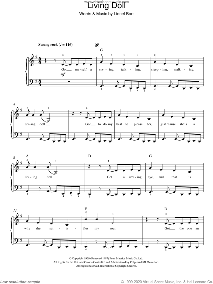 Living Doll sheet music for piano solo by Cliff Richard, Cliff & The Shadows Richard and Lionel Bart, easy skill level