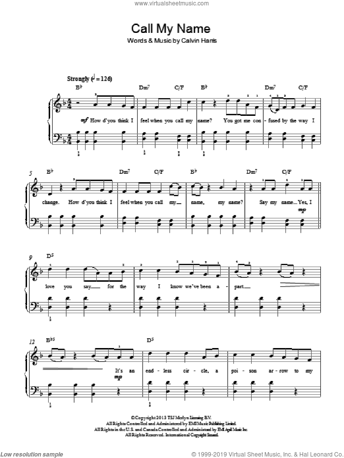Call My Name sheet music for piano solo by Cheryl Cole, Cheryl and Calvin Harris, easy skill level