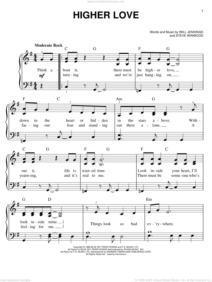 Higher Love sheet music for piano solo by Steve Winwood, easy skill level