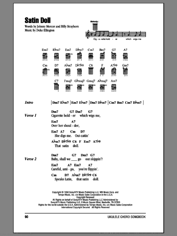 Satin Doll sheet music for ukulele (chords) by Duke Ellington, Billy Strayhorn and Johnny Mercer, intermediate skill level
