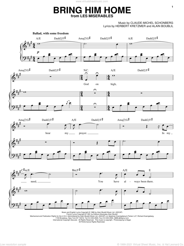 Bring Him Home sheet music for voice and piano by Claude-Michel Schonberg, Alain Boublil and Herbert Kretzmer, intermediate skill level