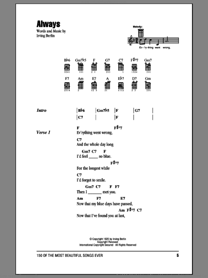 Always sheet music for ukulele (chords) by Irving Berlin, Billie Holiday, Frank Sinatra and Patsy Cline, intermediate skill level