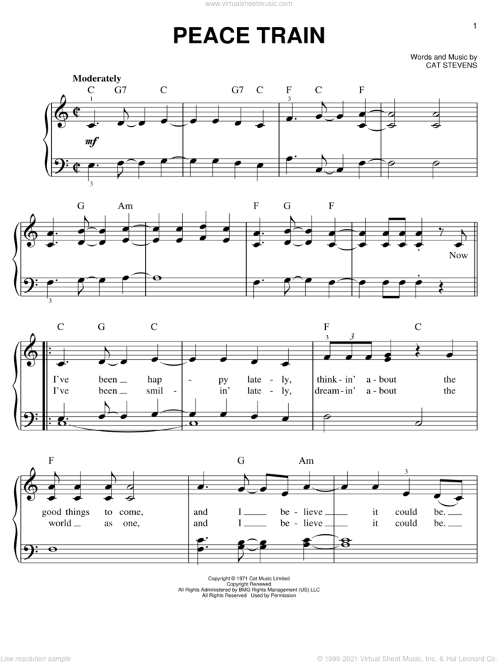 Peace Train sheet music for piano solo by Cat Stevens, easy skill level
