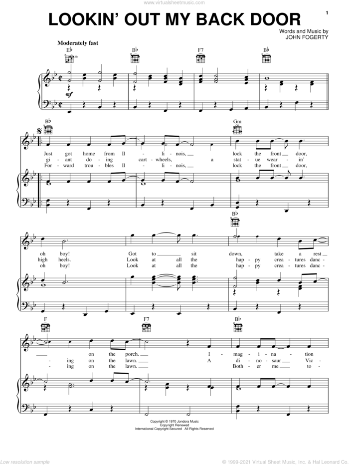 Lookin' Out My Back Door sheet music for voice, piano or guitar by Creedence Clearwater Revival and John Fogerty, intermediate skill level