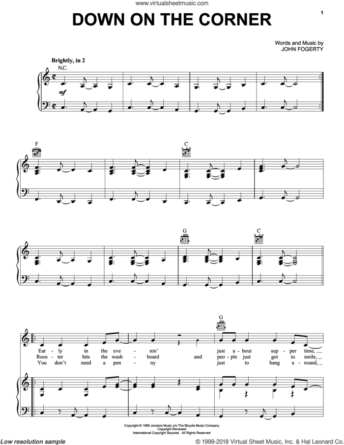 Down On The Corner sheet music for voice, piano or guitar by Creedence Clearwater Revival and John Fogerty, intermediate skill level