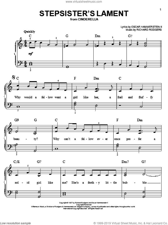 Stepsisters' Lament sheet music for piano solo by Rodgers & Hammerstein, Oscar II Hammerstein and Richard Rodgers, easy skill level