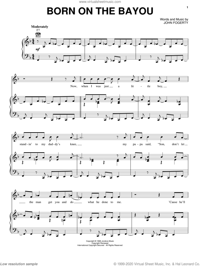 Born On The Bayou sheet music for voice, piano or guitar by Creedence Clearwater Revival and John Fogerty, intermediate skill level