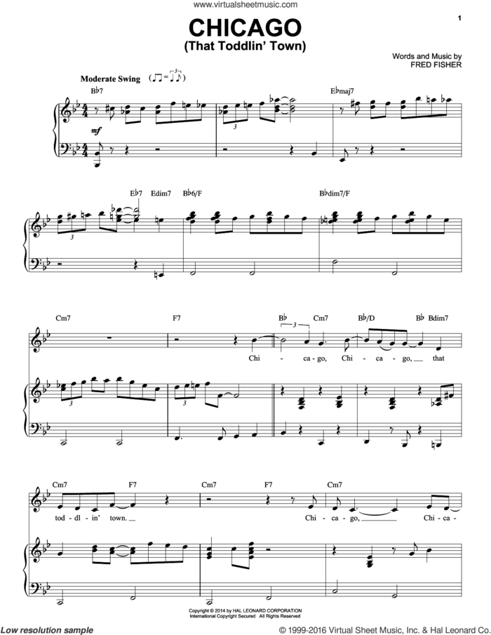 Chicago (That Toddlin' Town) sheet music for voice and piano by Frank Sinatra and Fred Fisher, intermediate skill level
