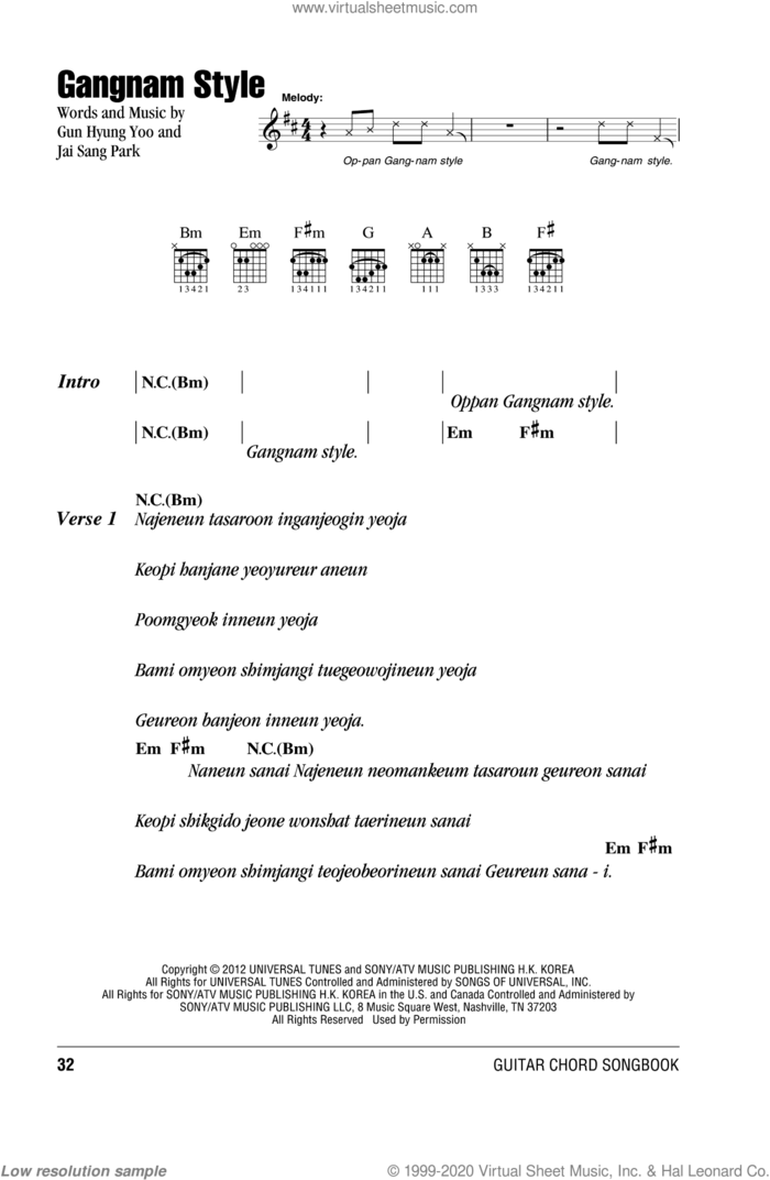 Gangnam Style sheet music for guitar (chords) by PSY, intermediate skill level