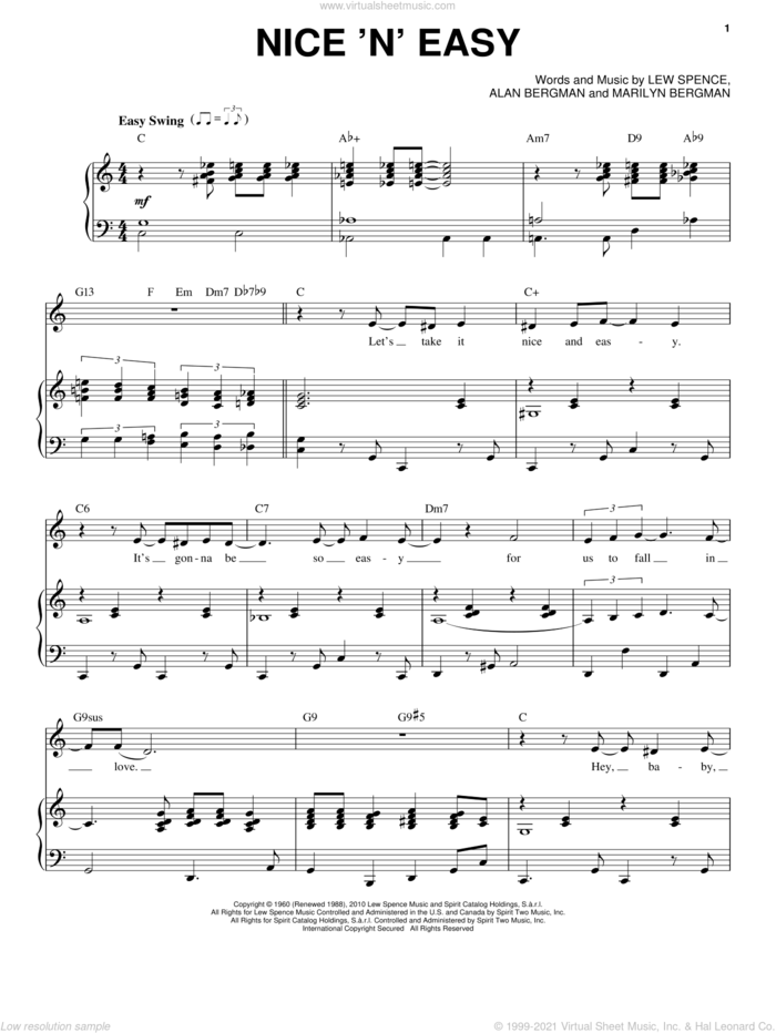 Nice 'n' Easy sheet music for voice and piano by Frank Sinatra, Come Fly Away (Musical), Alan Bergman, Lew Spence and Marilyn Bergman, intermediate skill level
