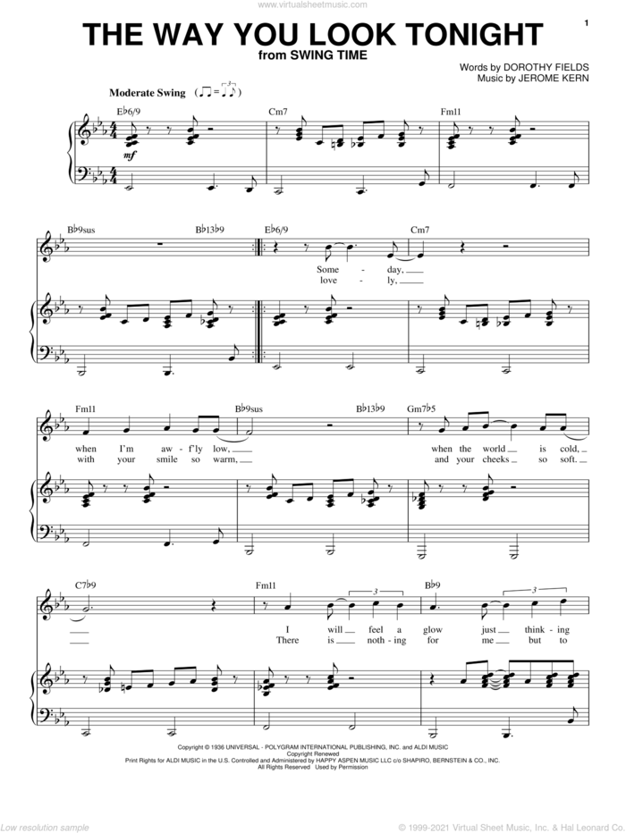 The Way You Look Tonight sheet music for voice and piano by Frank Sinatra, Dorothy Fields and Jerome Kern, wedding score, intermediate skill level