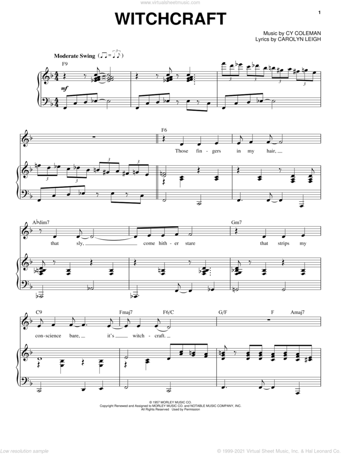 Witchcraft sheet music for voice and piano by Frank Sinatra, Come Fly Away (Musical), Carolyn Leigh and Cy Coleman, intermediate skill level
