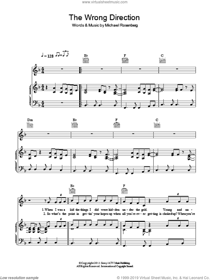 The Wrong Direction sheet music for voice, piano or guitar by Passenger and Michael Rosenberg, intermediate skill level