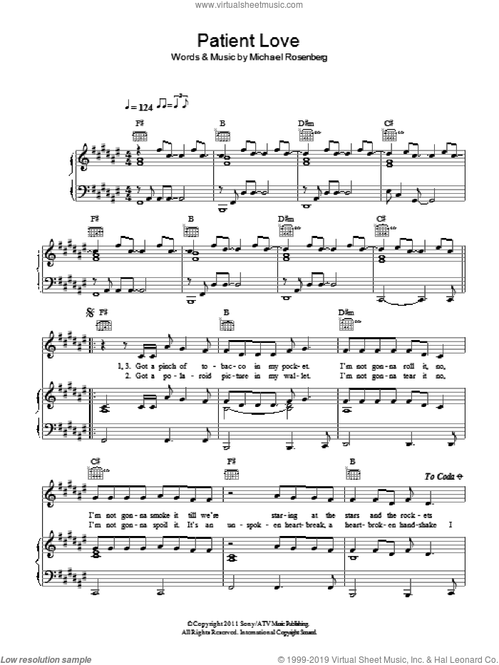 Patient Love sheet music for voice, piano or guitar by Passenger and Michael Rosenberg, intermediate skill level