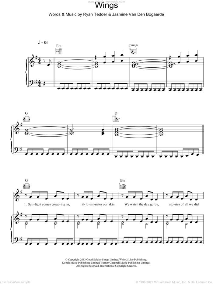 Wings sheet music for voice, piano or guitar by Birdy, Jasmine Van Den Bogaerde and Ryan Tedder, intermediate skill level