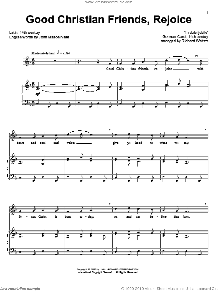 Good Christian Men, Rejoice sheet music for voice and piano by John Mason Neale, 14th Century German Melody and Miscellaneous, intermediate skill level