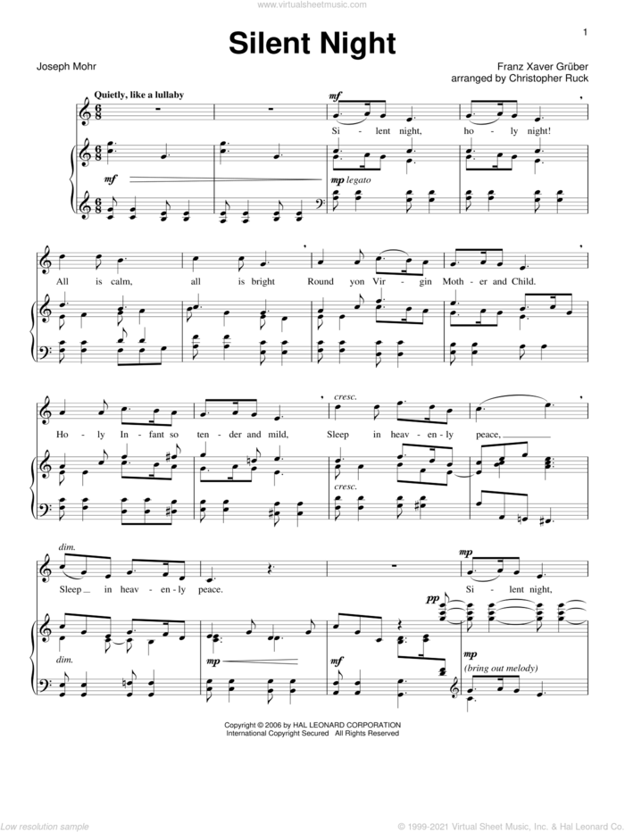 Silent Night (arr. Christopher Ruck) sheet music for voice and piano by Joseph Mohr, Christopher Ruck, Franz Gruber and John F. Young, intermediate skill level