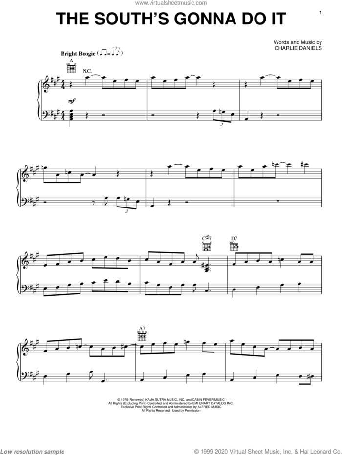 The South's Gonna Do It sheet music for voice, piano or guitar by Charlie Daniels Band and Charlie Daniels, intermediate skill level
