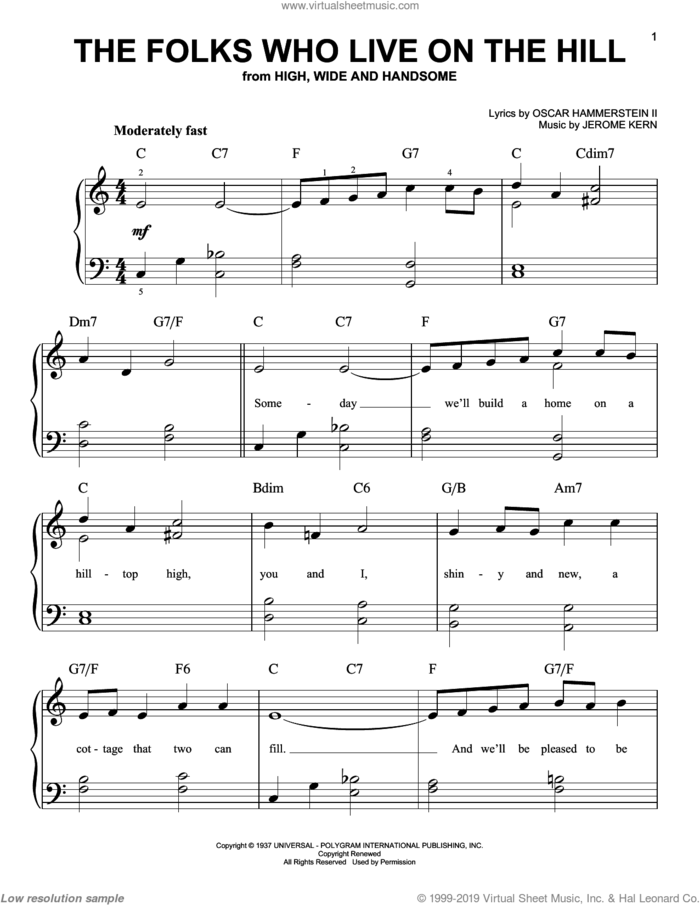 The Folks Who Live On The Hill sheet music for piano solo by Jerome Kern and Oscar II Hammerstein, easy skill level