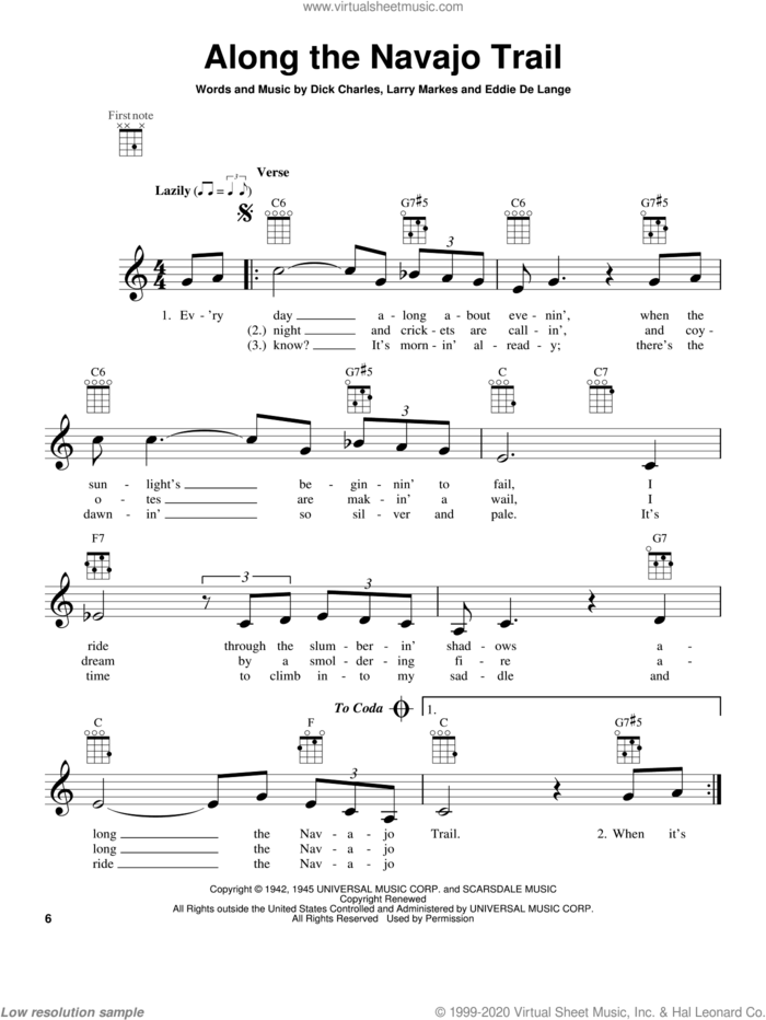 Along The Navajo Trail sheet music for ukulele by Bing Crosby & The Andrews Sisters, Dick Charles, Eddie DeLange and Larry Markes, intermediate skill level