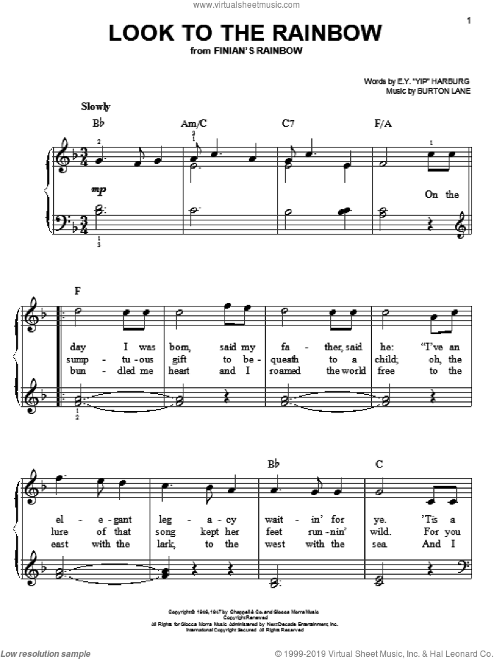 Look To The Rainbow sheet music for piano solo by E.Y. Harburg and Burton Lane, easy skill level