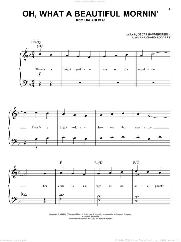 Oh, What A Beautiful Mornin' (from Oklahoma!) sheet music for piano solo by Rodgers & Hammerstein, Oklahoma! (Musical), Oscar II Hammerstein and Richard Rodgers, easy skill level