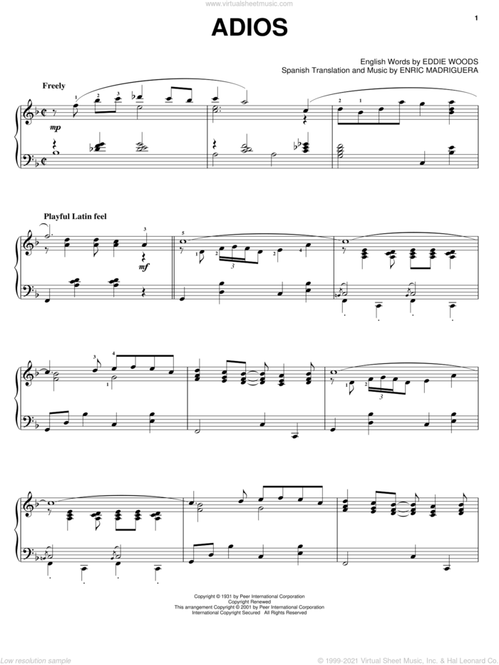Adios sheet music for piano solo by Astor Piazzolla, Perez Prado, Eddie Woods and Enric Madriguera, intermediate skill level