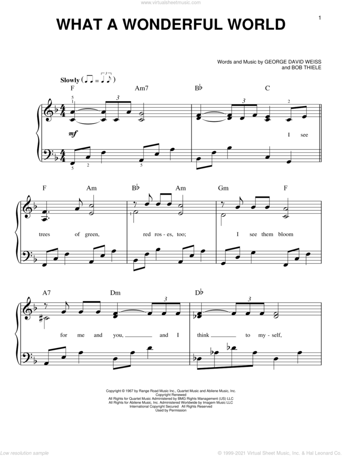 What A Wonderful World, (easy) sheet music for piano solo by Louis Armstrong, Bob Thiele and George David Weiss, wedding score, easy skill level