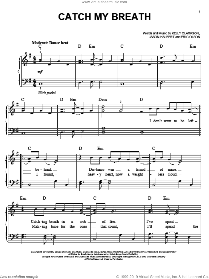 Catch My Breath sheet music for piano solo by Kelly Clarkson, easy skill level