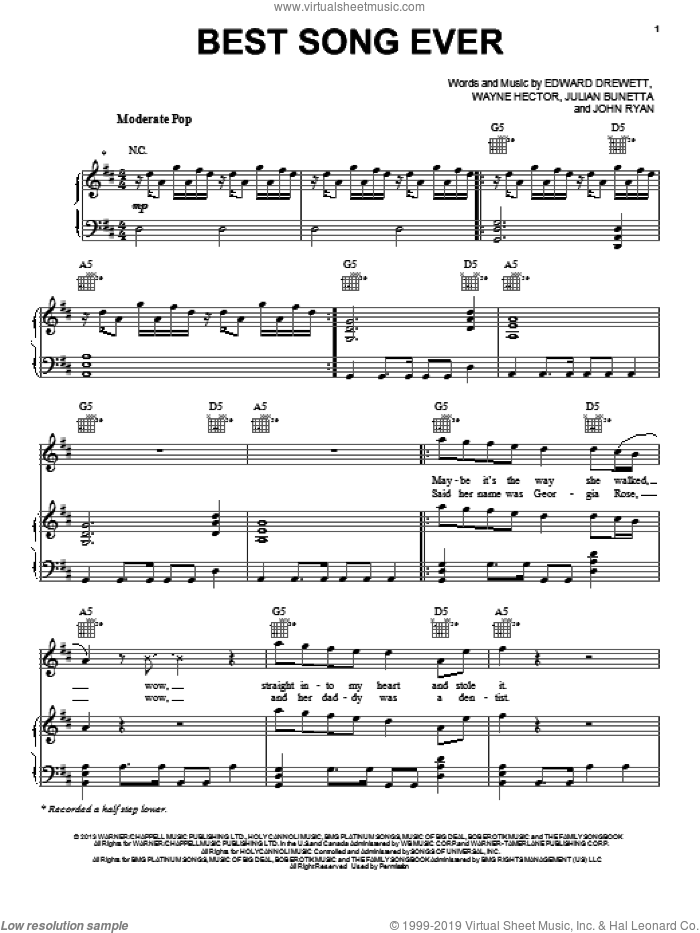 Best Song Ever sheet music for voice, piano or guitar by One Direction, intermediate skill level