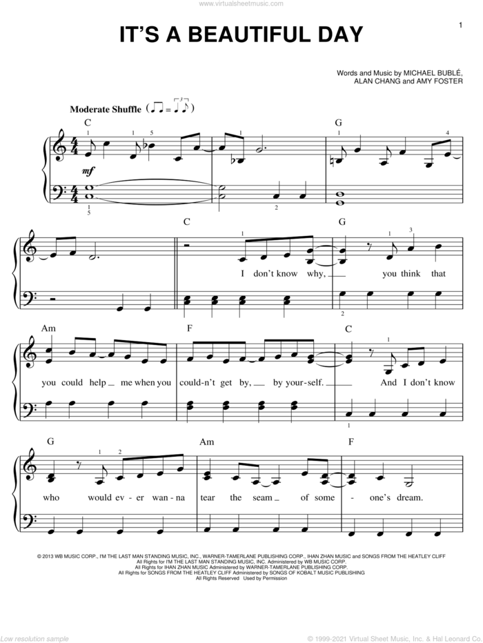 It's A Beautiful Day sheet music for piano solo by Michael Buble, easy skill level