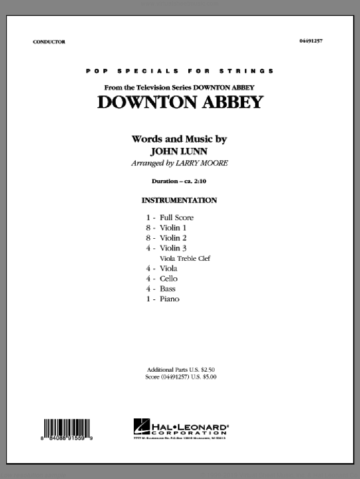 Downton Abbey (COMPLETE) sheet music for orchestra by Larry Moore, intermediate skill level