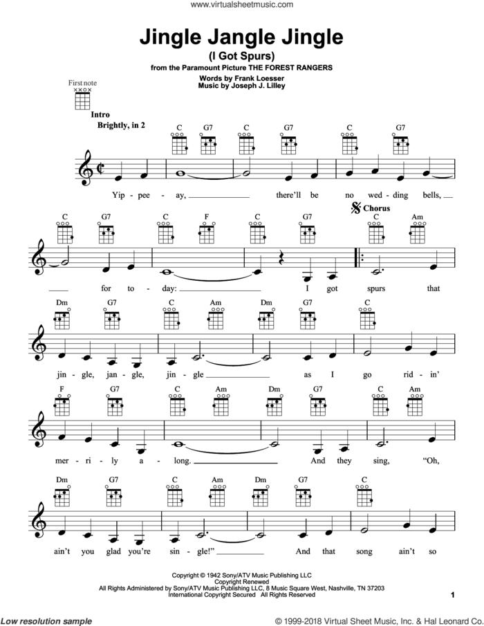 Jingle Jangle Jingle (I Got Spurs) sheet music for ukulele by Frank Loesser and Joseph J. Lilley, intermediate skill level
