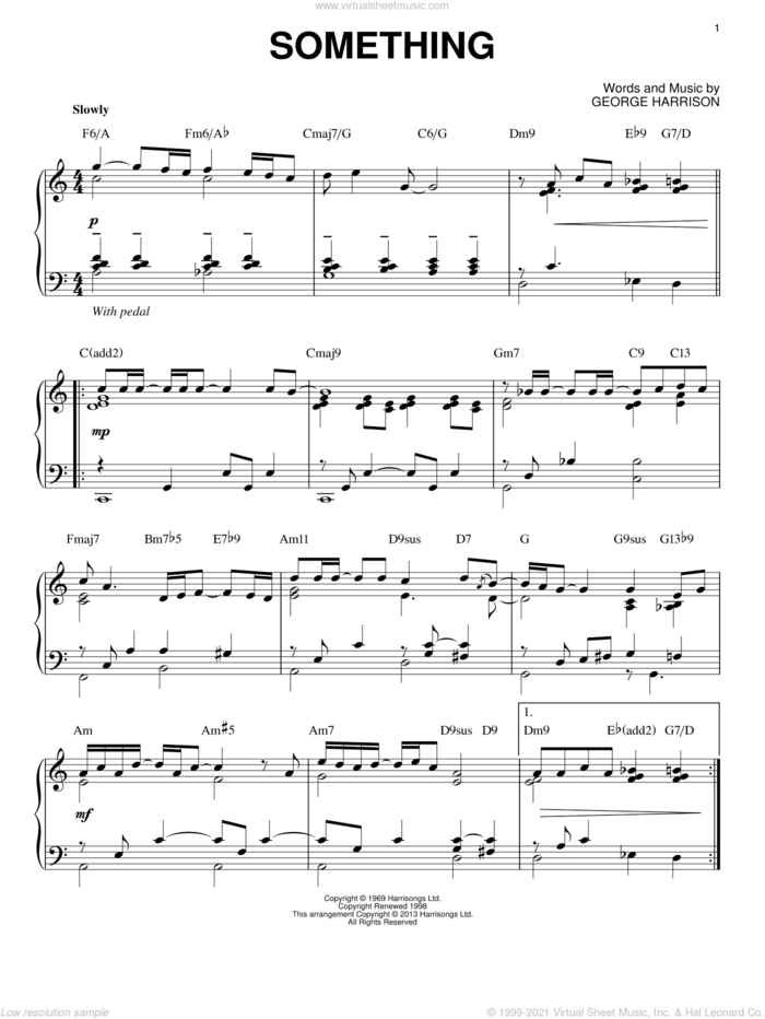Something [Jazz version] (arr. Brent Edstrom) sheet music for piano solo by The Beatles and George Harrison, intermediate skill level