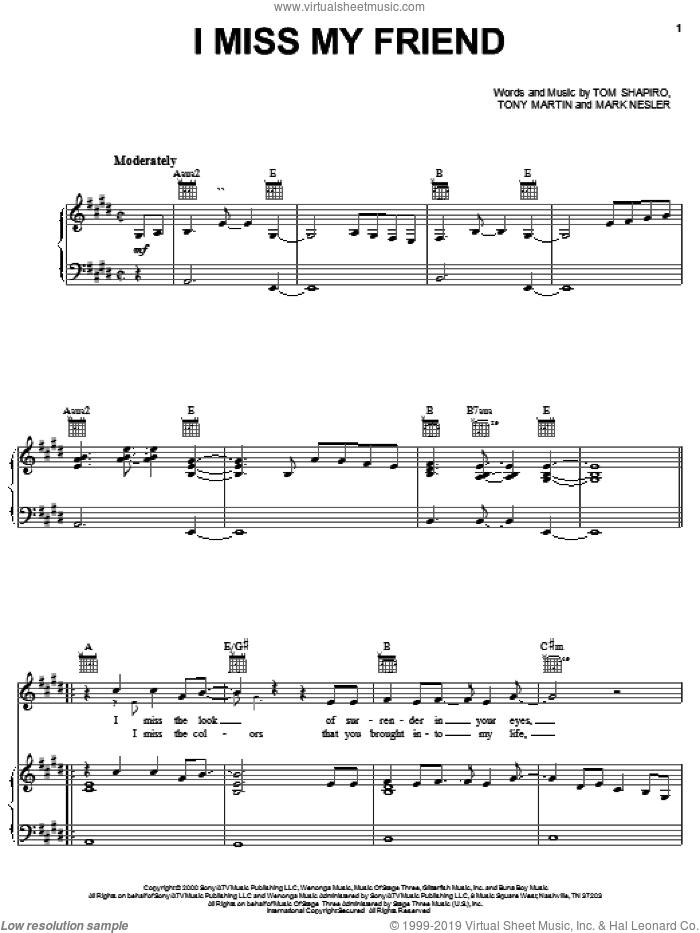 I Miss My Friend sheet music for voice, piano or guitar by Darryl Worley, Mark Nesler, Tom Shapiro and Tony Martin, intermediate skill level