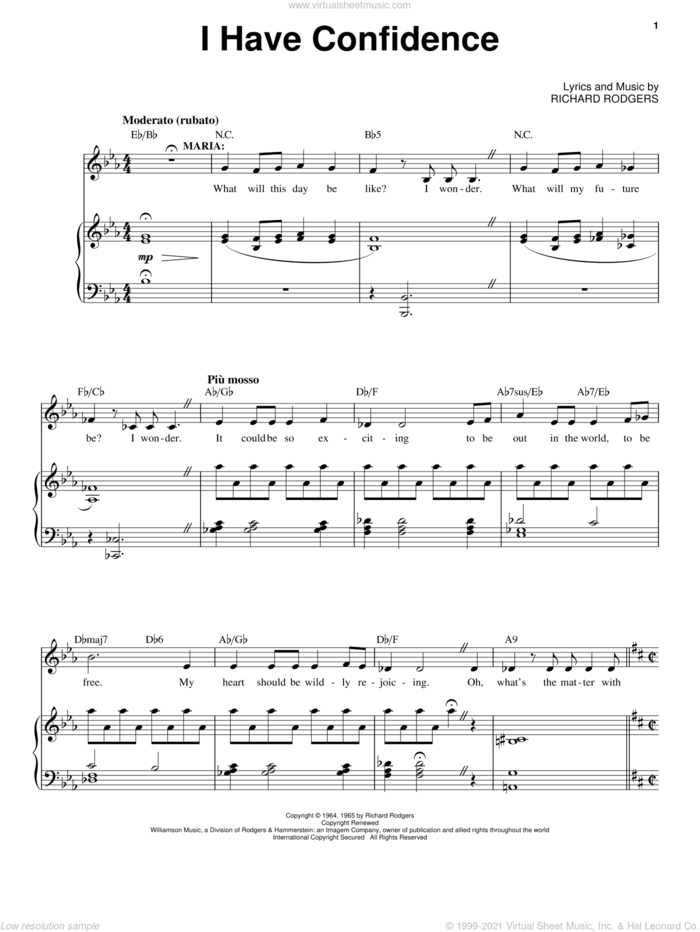 I Have Confidence (from The Sound of Music) sheet music for voice and piano by Rodgers & Hammerstein, Oscar II Hammerstein and Richard Rodgers, intermediate skill level