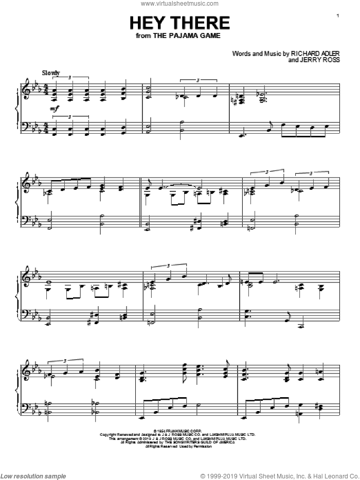 Hey There sheet music for piano solo by Jerry Ross and Richard Adler, intermediate skill level
