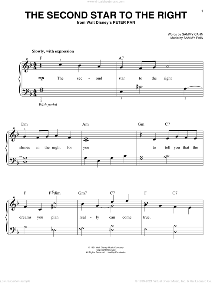 The Second Star To The Right sheet music for piano solo by Sammy Cahn and Sammy Fain, easy skill level
