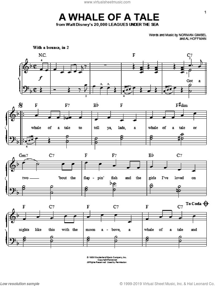 A Whale Of A Tale sheet music for piano solo by Norman Gimbel, Al Hoffman and Kirk Douglas, easy skill level