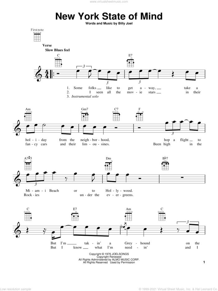 New York State Of Mind sheet music for ukulele by Billy Joel, intermediate skill level