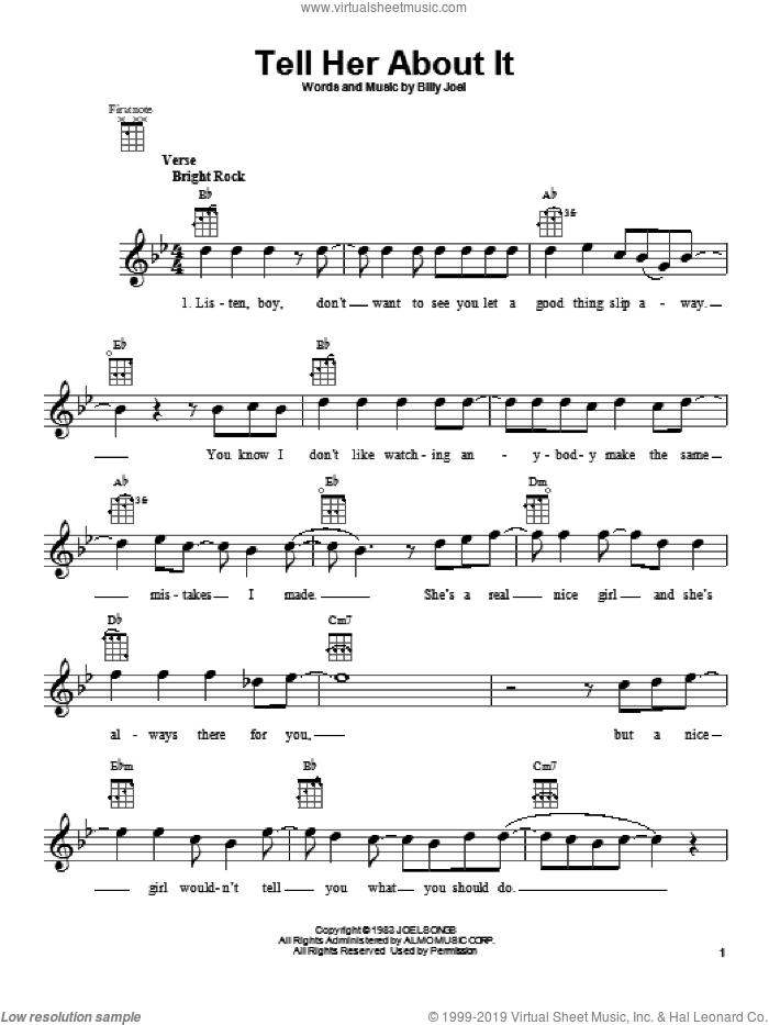 Tell Her About It sheet music for ukulele by Billy Joel, intermediate skill level