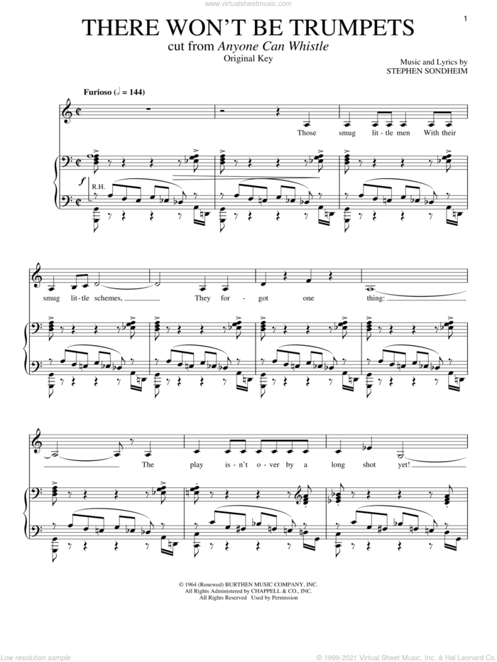 There Won't Be Trumpets sheet music for voice and piano by Stephen Sondheim, intermediate skill level