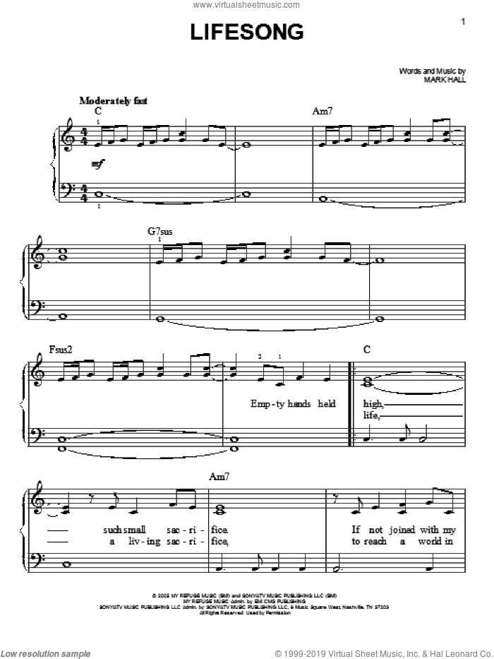 Lifesong sheet music for piano solo by Casting Crowns and Mark Hall, easy skill level