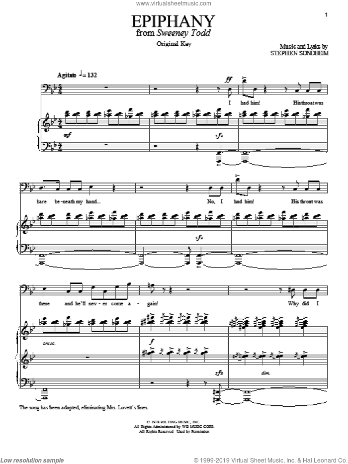 Epiphany sheet music for voice and piano by Stephen Sondheim, intermediate skill level