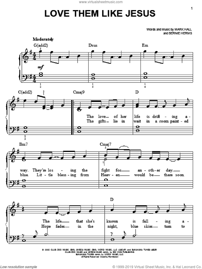 Love Them Like Jesus sheet music for piano solo by Casting Crowns, Bernie Herms and Mark Hall, easy skill level