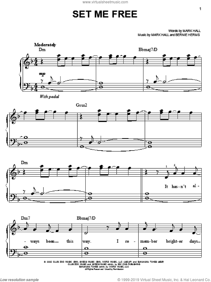 Set Me Free sheet music for piano solo by Casting Crowns, Bernie Herms and Mark Hall, easy skill level